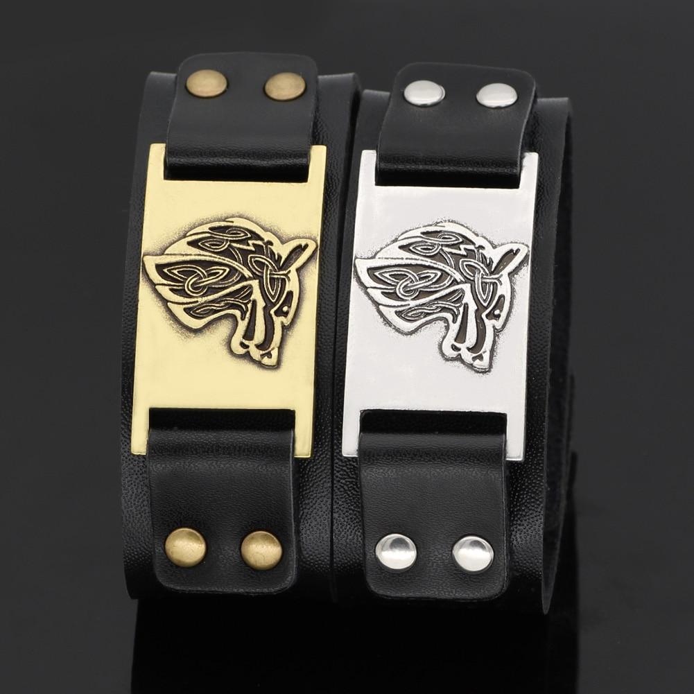 524927510627 P2519 Dongmanli Vintage religión brazalete Viking pulsera de cuero de los  hombres de correa pulseras brazaletes Totem joyería Accesorios