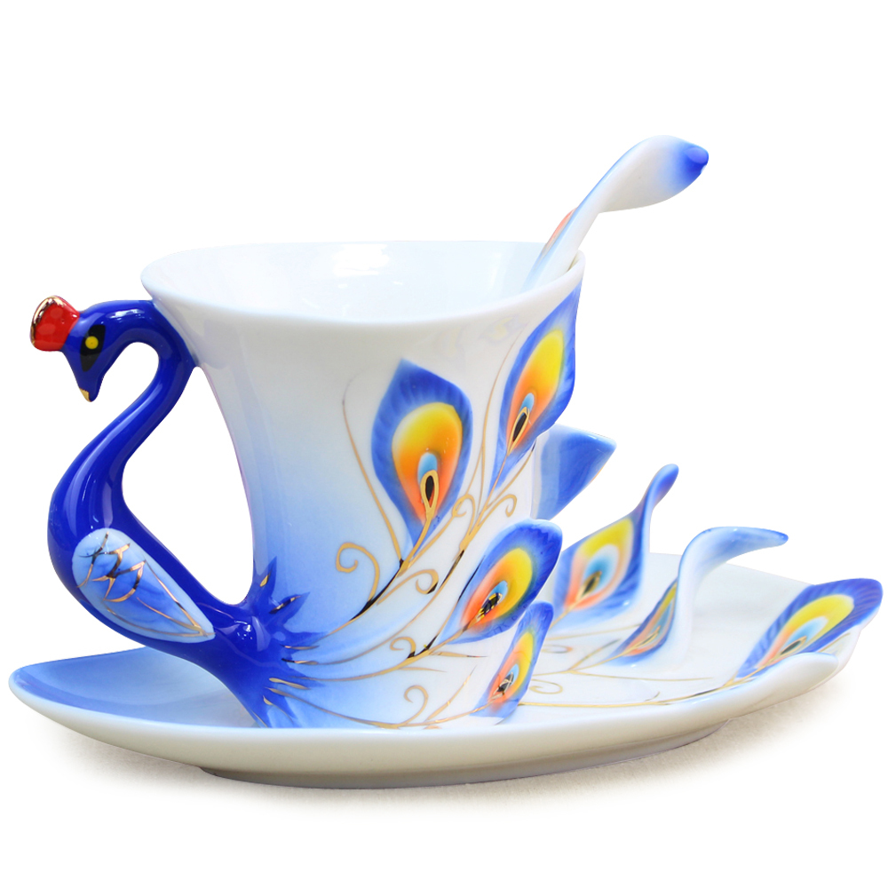 Small Coffee Cups And Saucers Us 23 1 Chinese Ceramic Enamel Porcelain Peacock Coffee Mug Lover Cup Saucer Christmas Wedding Valentine S Day Ideas Gift Ly 001 In Mugs From Home