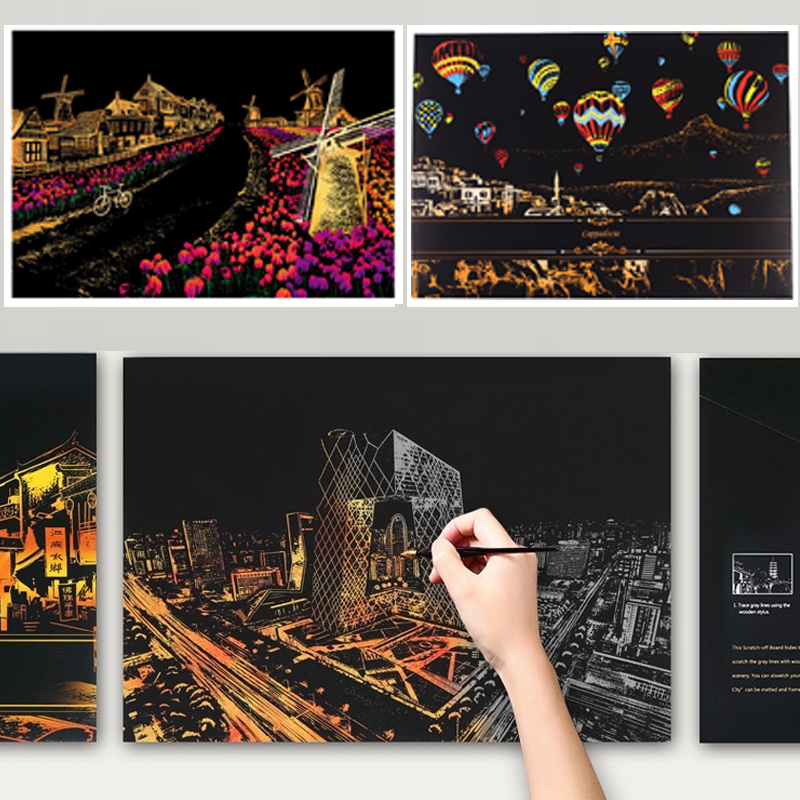 F Scratch Paper Rainbow Painting 4Pcs Sketch Pad DIY Art Craft Kits Night View City Landscape Scratchboard School Supplies Interesting Toys Creative Gift for Adults and Kids