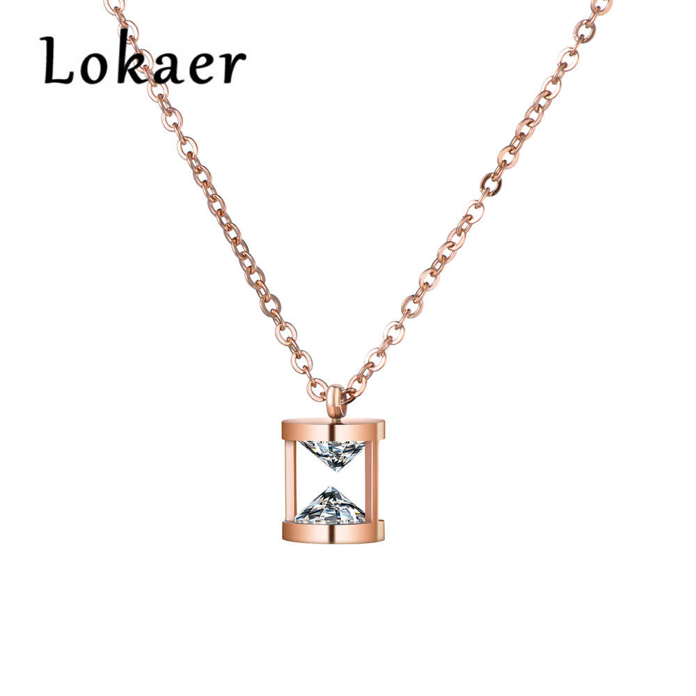 Lokaer Funnel Shape Pendant Necklace AAA CZ Stainless Steel Jewelry Rose Gold Color Chain Valentine's Day Present N18266