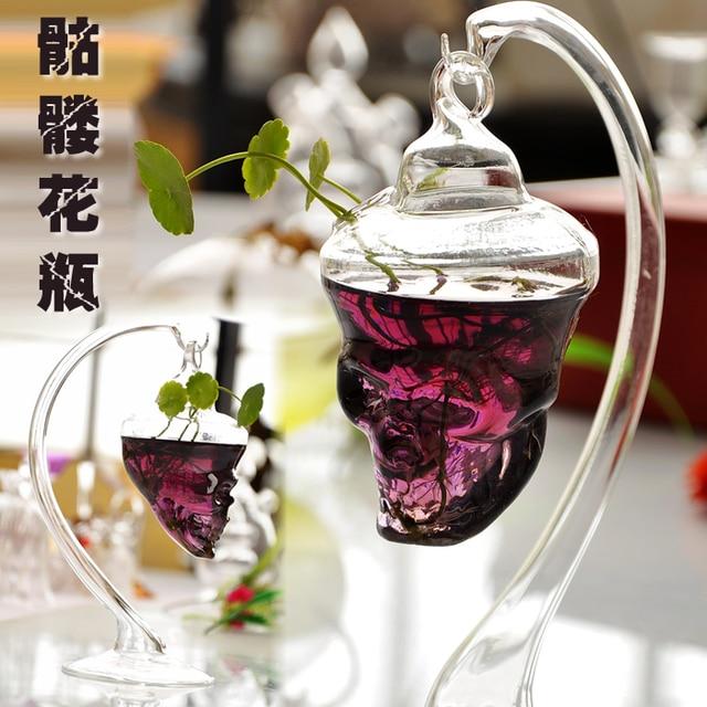 Ofertas hot japonês produtos vaso de vidro transparente crânio vasos terrário de 23 * 7.5 cm