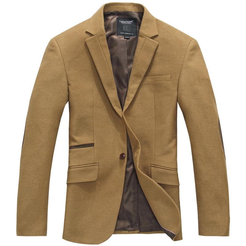 Lesmart Men's Business Fashion Casual Elbow Patch Splice Suit Ventilate Easy-care Formal Outerwear Slim Fit Work Leisure Blazers