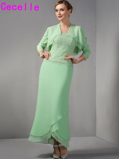 Mint Sheath Lace Chiffon Mother Of The Bride Dresses With Jackets