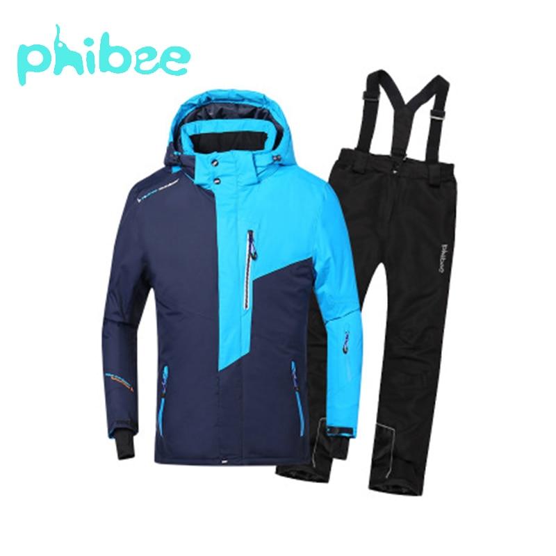 Лыжный костюм Phibee, одежда для маленьких мальчиков и девочек, теплые непромокаемые ветрозащитные комплекты для сноуборда, зимняя куртка, дет