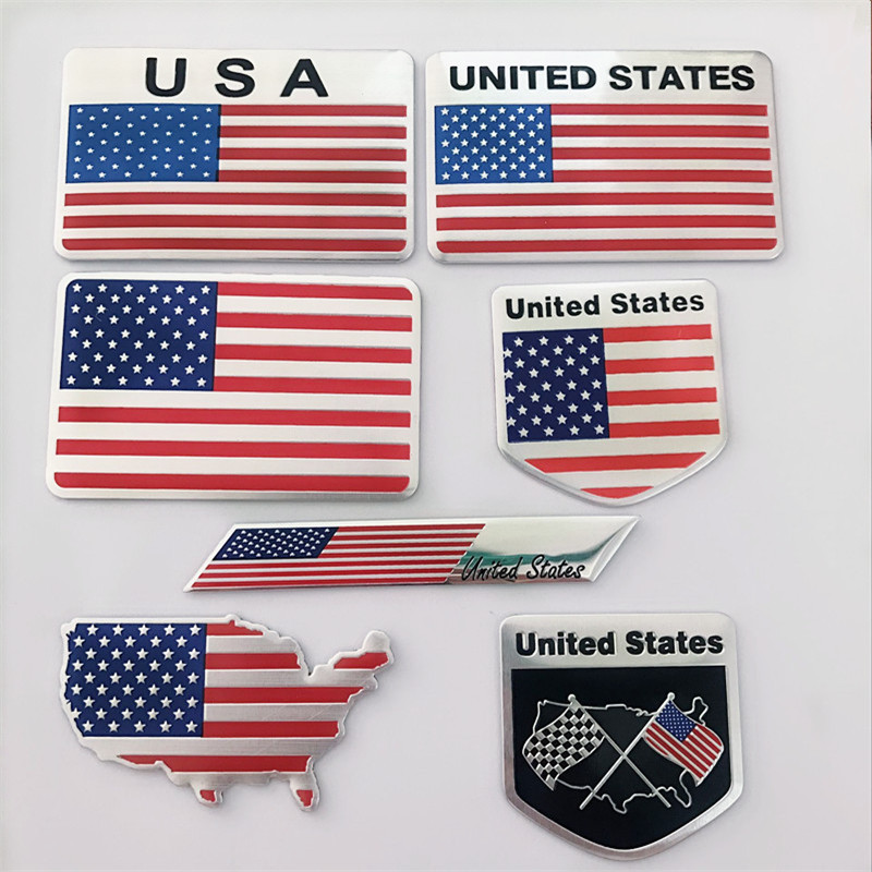 Automobile Motorcycle Exterior Accessories Great Country United States Of America USA National Flag Aluminum Alloy Car Stickers(China)