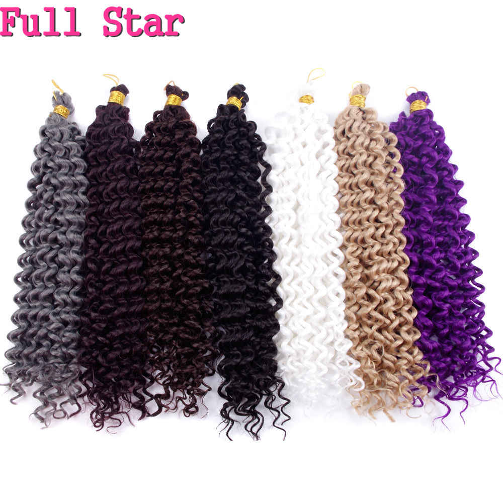 Full Star water Wave Crochet Hair Extensions Bohemian Crochet Braids Synthetic Braiding Hair Pure Blonde 99j white Colors Bulk