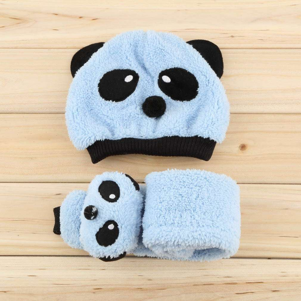 2643290655a Baby Hat Scarf Warm Winter Panda Kid Child Boy Girl Wool Blend Blue ...