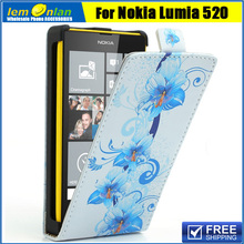 8 Fower Patterns Для Nokia Lumia 520 Вертикальные Голубые Лепестки лили Флип PU Leather Case Cover for Nokia Lumia 520 525