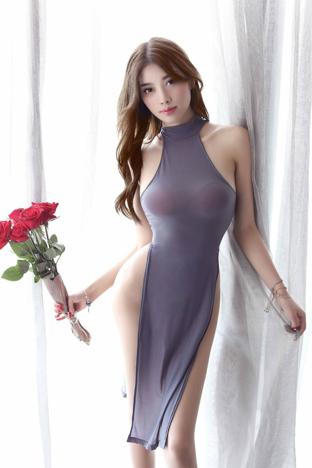 Erotic Women Lingerie Temptation Porno Perspective Satin Silky High Split Cheongsam Babydoll