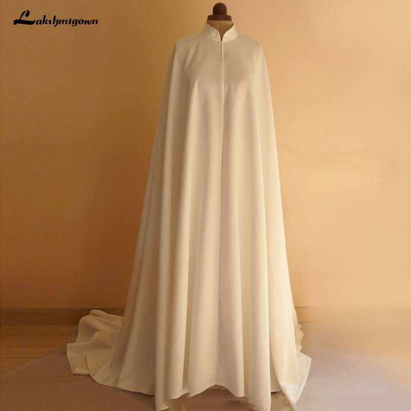 8de57d302315d High Neck White ivory Wedding Wraps Bride Jacket Bridal Cloak Dress's Cape  Women Wedding Accessory 2019