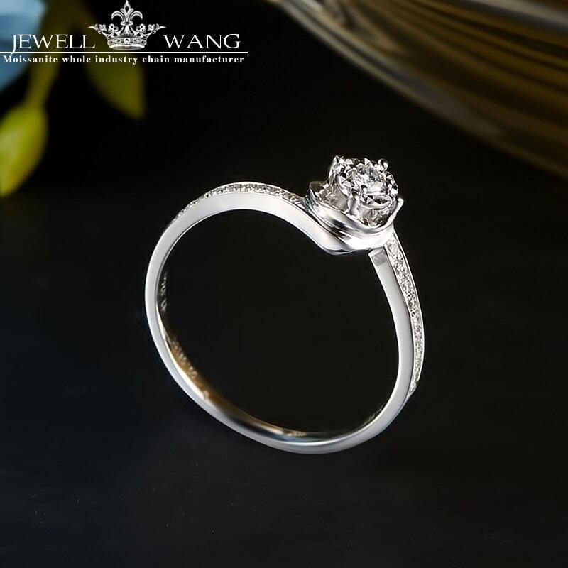 Jewellwang 18 К белого золота Кольца с алмазами для Для женщин круглый Романтический 0.5ct эффект certified Обручение Алмаз Роскошные Кольца брендов
