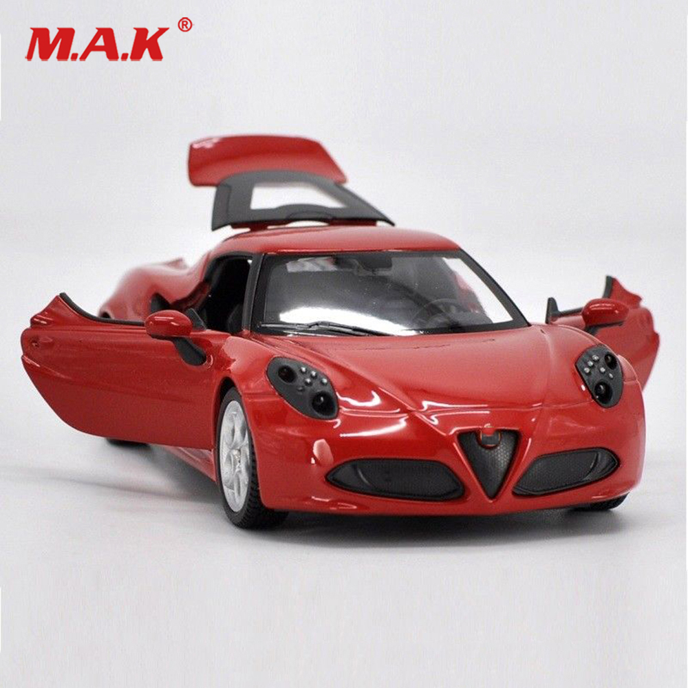 Kids Toys 1:24 Red Classic Cars Red Alfa Romeo 4C Alloy Diecast Vehicle Car Model Toy Gift Car Toys For Collection