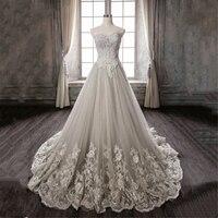 New Fashion 2018 Wedding Dresses Lace Appliques sweetheart Sleeveless Elegant Plus size Vestido De Noiva Bride