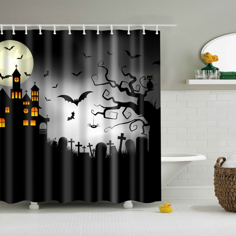 Halloween Haunted House Tree Bat Cat Bathroom Waterproof Shower ...