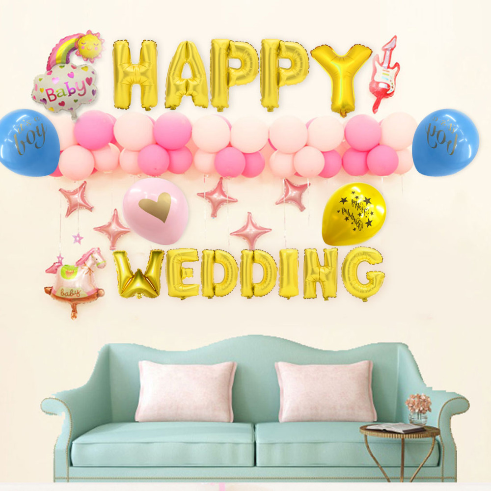 Birthday Decoration 12pcs/lot Baby shower balloon with gold shiny ...