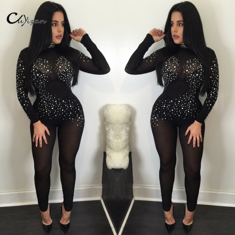CUYIZAN 2017 Women Summer Bodysuit Rompers lace jumpsuits long pants backless sexyBodycon Jumpsuit American Apparel