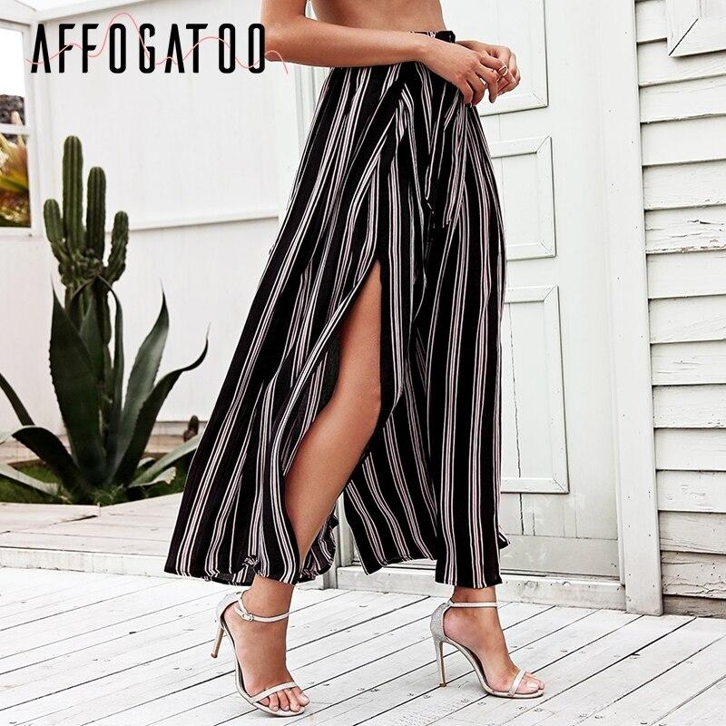 Affogatoo Sexy Side Split Wide Leg Pants Women Summer Beach High Waist Striped Pants Elastic Sash Bow Chic Trousers Casual Pants