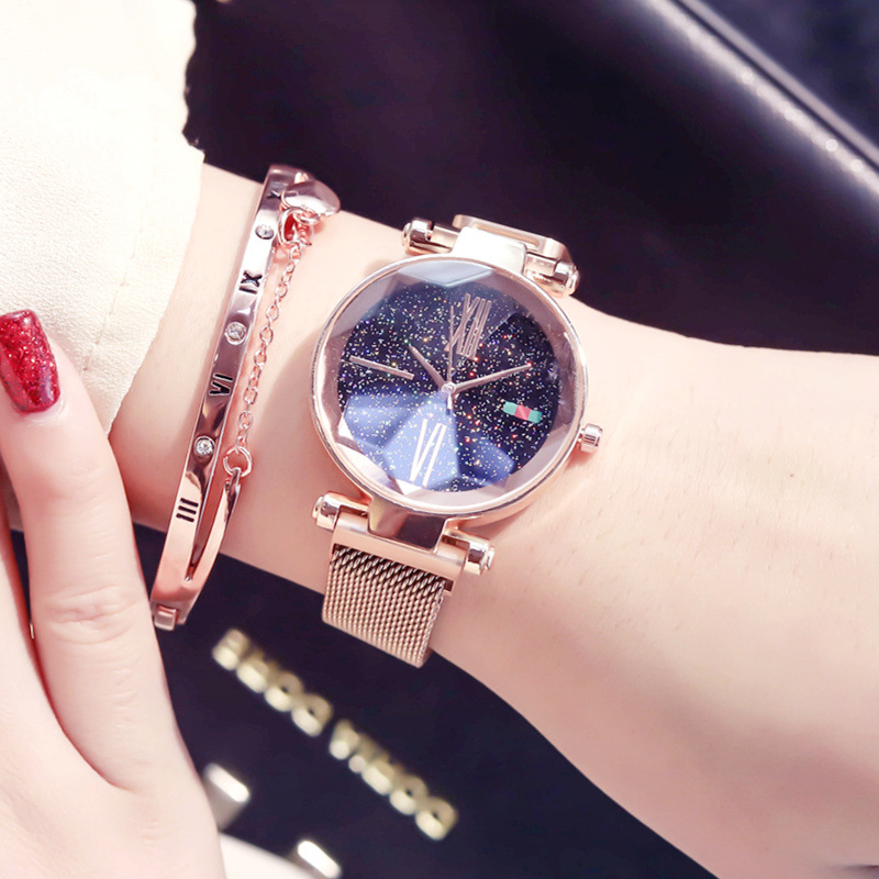Rose Gold Luxury Fashion Women Magnet Buckle Strap Watches Ulzzang Brand Roman Numeral Starry Sky Female Wristwatches Waterproof
