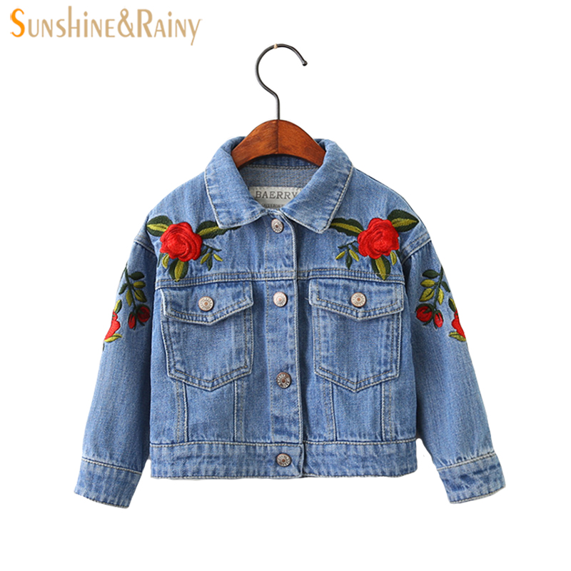 2-8Y Baby Girls Denim Jacket Vintage Jeans Jackets for Girl Toddler Baby Denim Jackets Girls Jean Jacket Rose Flower Embroidery