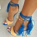 2016 Gran Tamaño de la Marca de Diseño de Señora High Heels Sandal Sexy borla de Las Mujeres Sandalia Gladiador Sandalia Punta Abierta de Verano Vestido de Fiesta zapatos