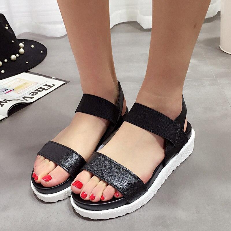 MCCKLE Women Sandals Slip On Elastic Band Peep Toe Female Summer Shoes Platform Flat Roman Sandals Ladies Comfortable Footwear