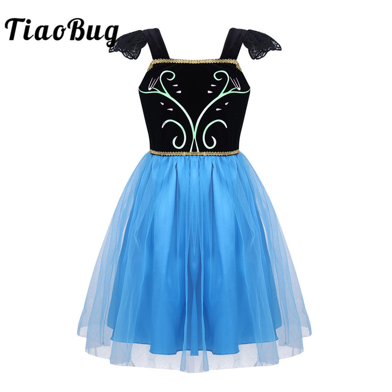 TiaoBug Kids Girls Little Cap Sleeve Square Neckline Satin Tulle Princess Tutu Dress Children Fancy Cosplay Party Costume Dress