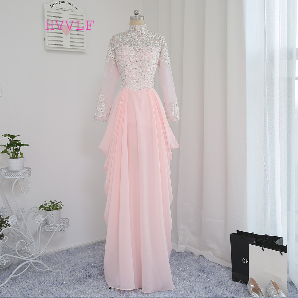 New Pink Muslim   Evening     Dresses   2019 A-line Long Sleeves Chiffon Beaded Appliques Long   Evening   Gown Prom   Dress   Prom Gown