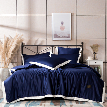Solid color Bedding Set navy blue grey washed silk king queen size Linens Duvet Covers Pillowcases Brief Bed Covers
