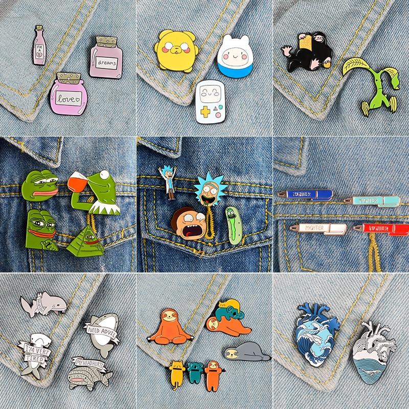 Super Bargain Enamel Pin Sets ! Cartoon TV Show Koala Sloth Cat Frog Pepe Ocean Heart Brooches Badges Lapel Pins