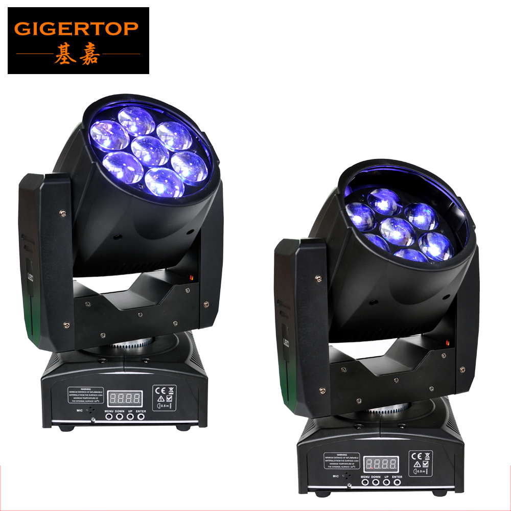 Freeshipping 2PCS Professional LED ZOOM Wash Light/Beam Moving Head Light 7X12w Stage Lights RGBW 4in1 Sound Control 90V-240V