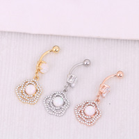 Gold Plated Opal Dangle Navel Ring Body Jewelry Piercings 316L Surgical Steel Crystal Belly Button Ring