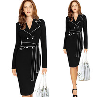 Black 2018 Fall Dress For Work Russian Style Long Sleeved Big Size Pencil Belted Formal Party Wear Womens Vintage Fitted Dress