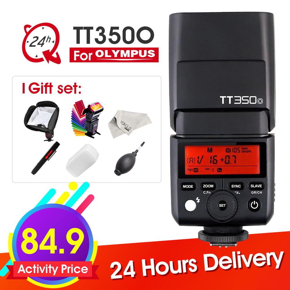 Godox Mini Speedlite TT350 TT350O Camera Flash TTL HSS GN36 for Olympus/Panasonic Mirrorless DSLR Camera + 6 Gift Kits godox tt685o ttl 2 4g wireless hss 1 8000s gn60 camera flash speedlite x1t o transmitter for olympus panasonic dmc fz2500gk