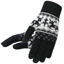 Women Knitted Gloves Winter Christmas Deer Warm Fashion Solid Thicken Black Touch Screen
