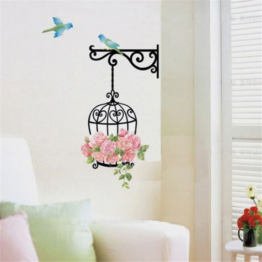 Wallpaper Sticker Fashion Flower Bird Wall Decal Sticker Home Decor Vinyl Removeable Mural Sticker Wallpapers For Living Room B#