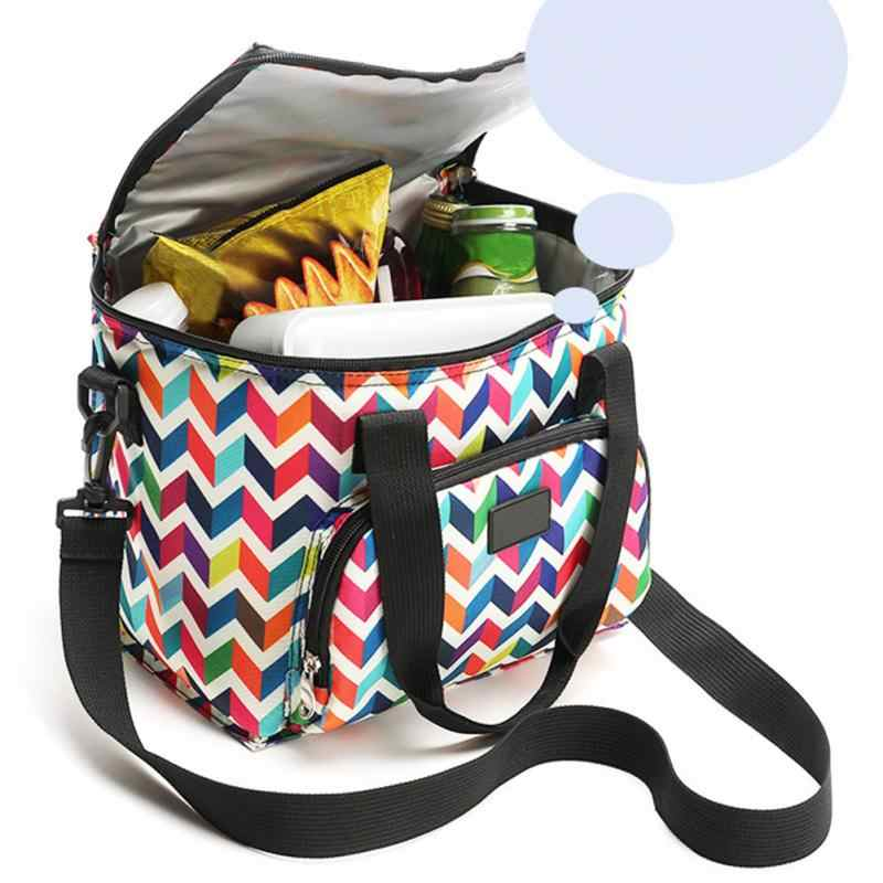 Nova oxford dupla camada saco de almoço refrigerador impresso isolado comida térmica piquenique bolsa portátil ombro lancheira tote