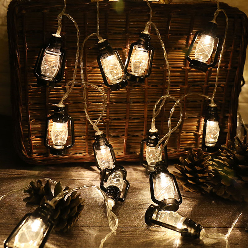 Retro Vintage Oil Festoon Lantern Novelty String Lights Holiday Party Home Bedroom Decor Lamp 10 / 20 Bulbs AA Battery Powered