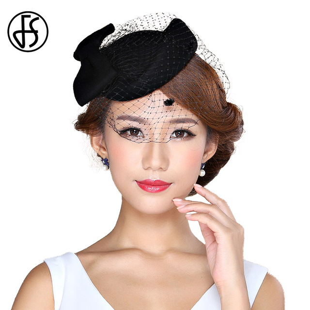d9ba3701 FS Ladies Winter Felt Hat 100% Wool Fedora Elegant Pillbox Hats With Veil  Black Women Church Fedoras Vintage Bow Fascinator