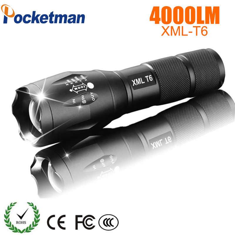 Pocketman XML T6 LED נטענת פנס linterna לפיד 4000 lumens 18650 סוללה חיצוני קמפינג פנס Led רב עוצמה