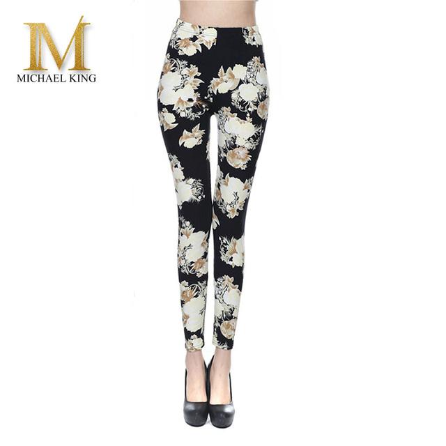 High Quality Women Leggings Milk Silk Printed flower Leggings Elastic Waisted Soft Leggins Sexy Women fitness Pants