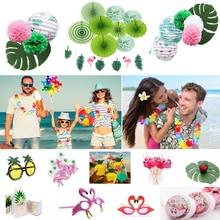 Hawaii Party Luau Flamingo Decoration Pineapple Summer Party Birthday Hawaiian  Wedding Tropical  Disposable Tableware Supplies