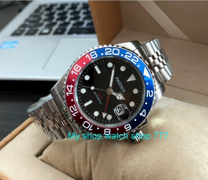 40mm PARNIS Sapphire Crystal GMT automatyczny ruch maszyny jasne mężczyźni kwarcowe zegarki damskie zegarki niebieski i czerwona ramka pa61 p8 w Zegarki mechaniczne od Zegarki na  Grupa 2