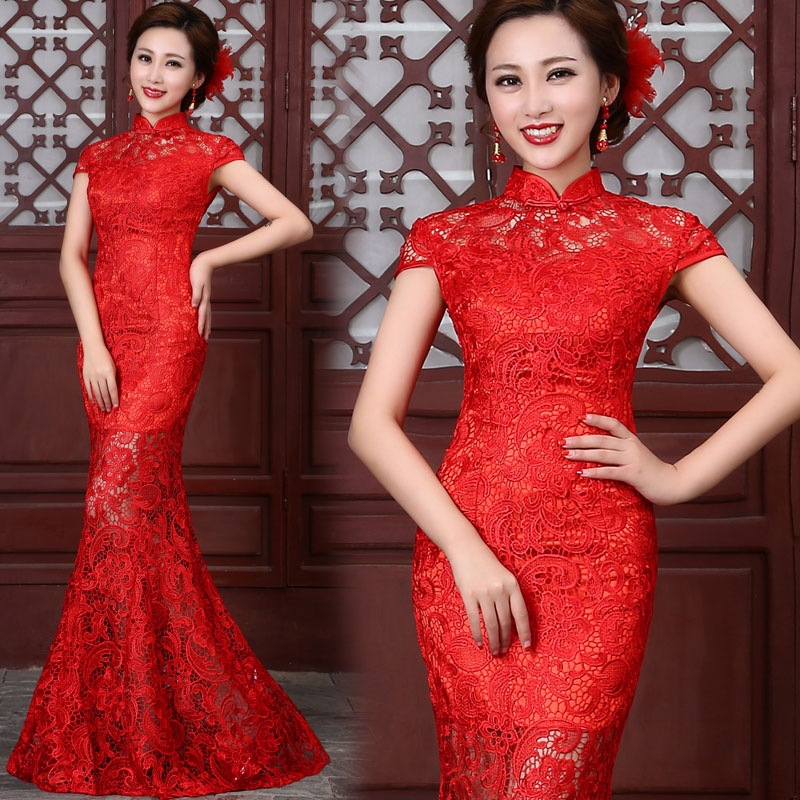 2016 Mode Red Lace Cheongsam Dresses Cina Tradisional Wedding Dress Mermaid Evening Dress Panjang Qipao Gratis Pengiriman