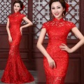 2016 Fashion Red Lace Cheongsam Dresses Chinese Traditional Wedding Dress Mermaid Evening Dress Long Qipao Free Shipping