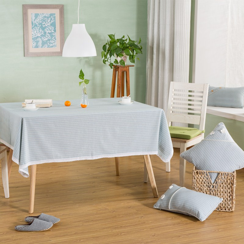 Pastoral Style Striped Table Cloth Linen Cotton Table Cloth For Rectangle  Table Home Hotel Table Cover Decorations 3 Sizes