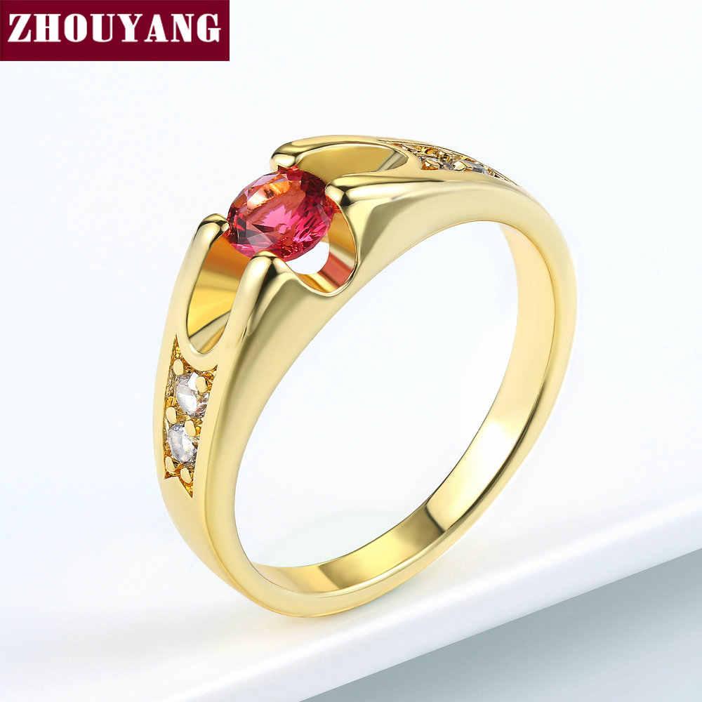 ZHOUYANG งานแต่งงานแหวนผู้หญิงคลาสสิก Cubic Zirconia Rose Gold สีแฟชั่นเครื่องประดับ Lover แหวนคริสตัลออสเตรีย ZYR249