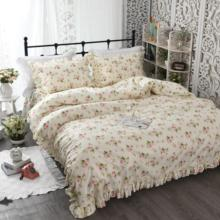 4 Pieces Beige Pink Rufflers Duvet Cover Bedskirt Set 160x200cm Bedding Set Colorful Flowers Pastoral Style Twin Queen King size