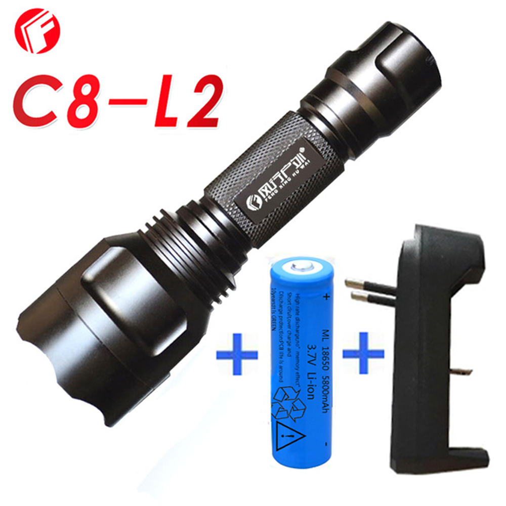 C8 L2 powerful led flashlight 18650 battery Home outdoor ...