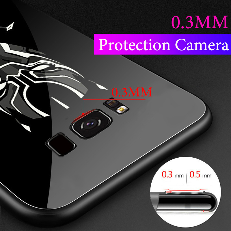 Batman-Spiderman-Luminous-Phone-Case-For-Samsung-Galaxy-S8-S8-Plus-iron-Man-Panther-Glass-Cover