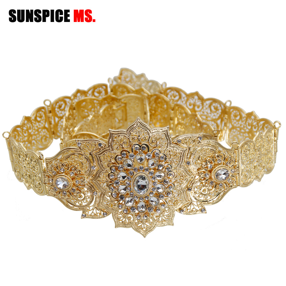Sunspicems Morocco Chic Caftan Belt For Women Gold Silver Color Wedding Jewelry Evening Dress Crystal Waist Chain Bridal Gifts